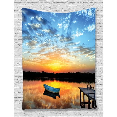 Nautical Tapestry, Little Fishing Boat on Pond Tranquil Sunrise Water Reflection Picture, Wall Hanging for Bedroom Living Room Dorm Decor, Sky Blue Yellow Black, by (4 Yellow Nautical Decor)