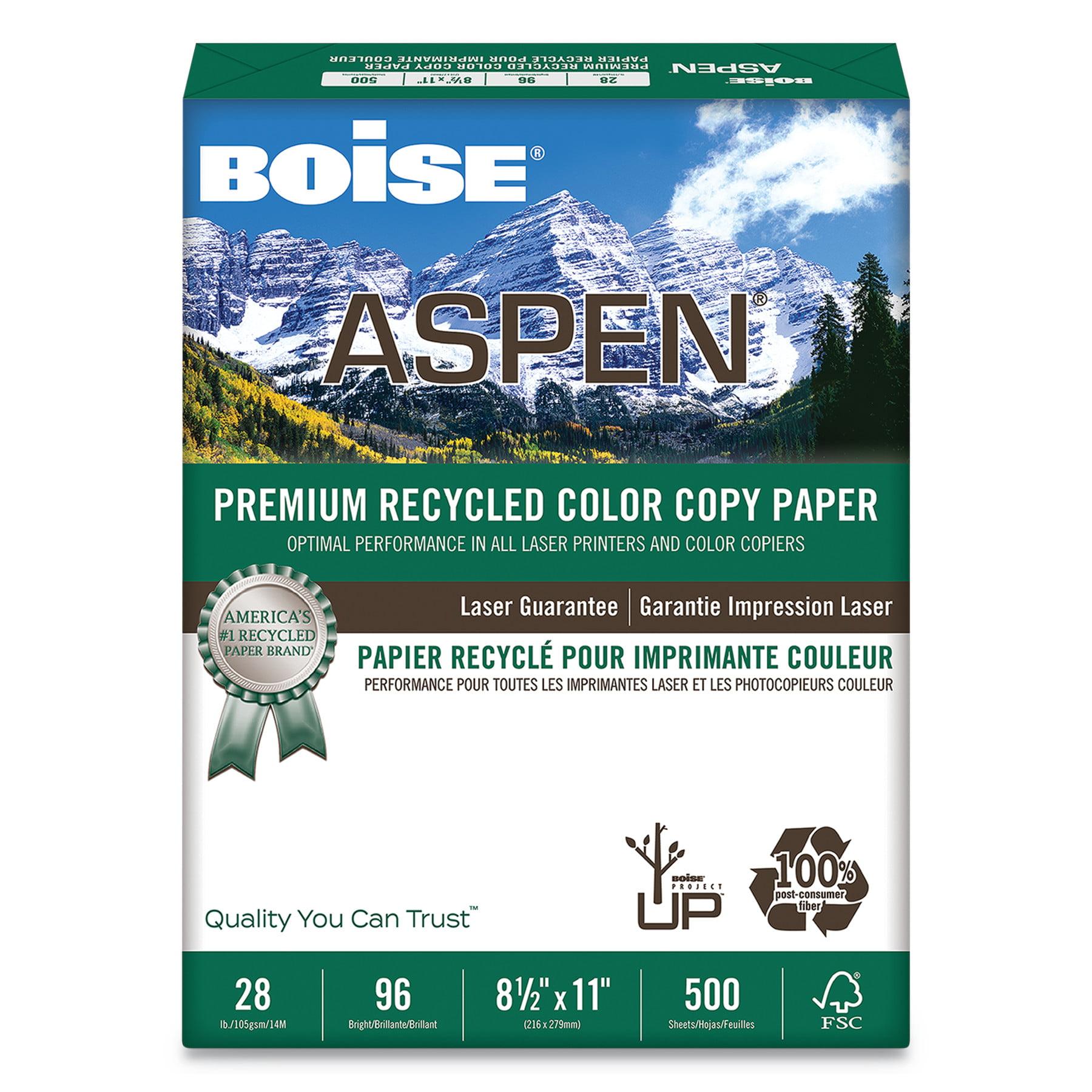 Boise ASPEN Premium Recycled Paper, 96 Bright, 28lb, Letter, White, 500 Sheets -CASACC2811