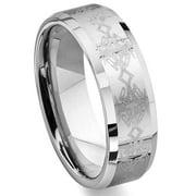 Titanium Kay Tungsten Carbide Laser Engraved Celtic Comfort Fit Mens Wedding Band Ring Sz 10.0