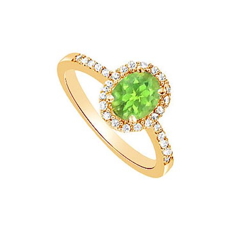 August Birthstone Oval Peridot and Cubic Zirconia Engagement Ring in 18K Yellow Gold Vermeil - image 2 of 2