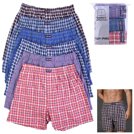 - 3 Mens Plaid Boxer Shorts Pack Underwear Cotton Trunk Woven Briefs Size S M L XL