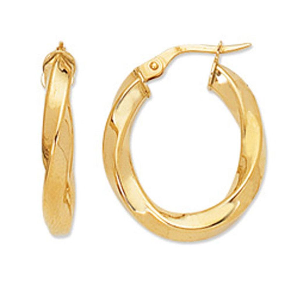 14k Yellow Gold 20mm X 3mm Twisted Oval Hoop Earrings