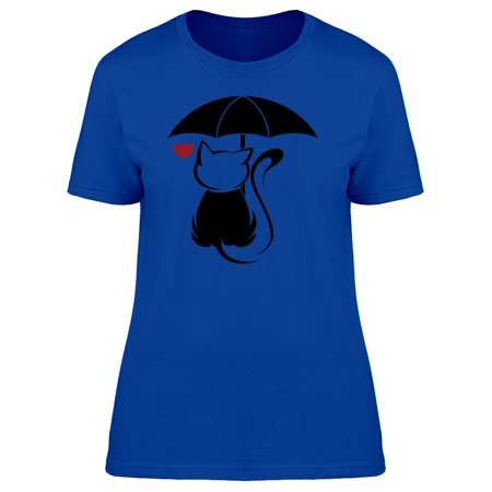 Cat Caricature Black Umbrella Tee Women