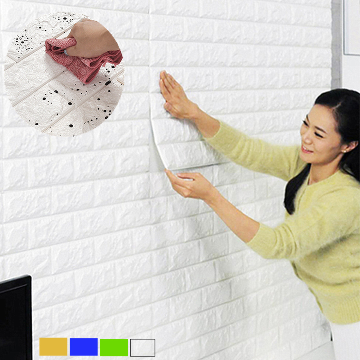 6 Sq.Ft Peal and Stick PE Foam Waterproof 3D Wallpaper DIY Wall Stickers Embossed Brick bedroom decor Stone Wall Decor 23.6×23.6 inch Room Children Bedroom Decor Self-adhesive