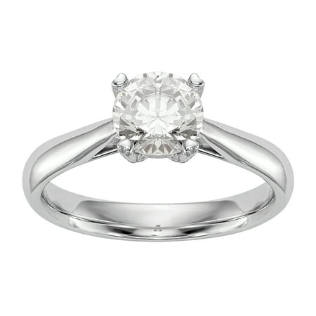 Radiant Fire® Certified Lab Grown 1/2 Ct Round Diamond Solitaire Engagement Ring, SI2 clarity, D E F color, in 14K White Gold