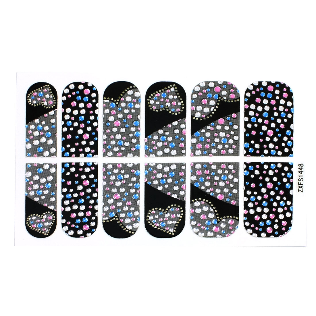 lady Glitter Heart Shape Device Nail Art Stickers Tip Decortion 12 Pcs