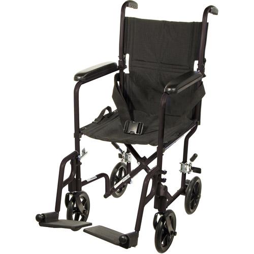 Drive Medical Deluxe Lightweight Aluminum Transport Wheelchair Aluminum,Black