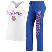Detroit Pistons Concepts Sport Women's Topic Tank Top & Pants Sleep Set - White/Blue