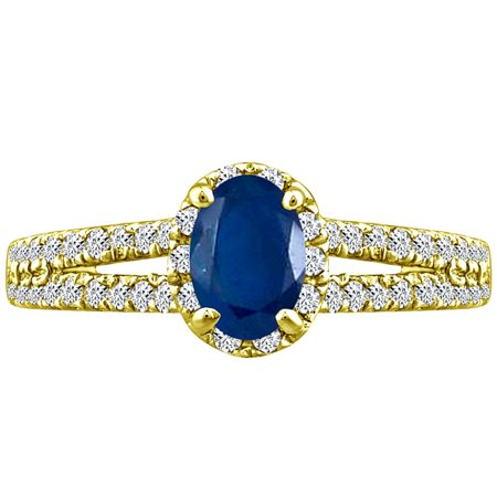 1.65 tcw Oval Cut Sapphire & Round Natural Diamond Halo Ring 14k Yellow Gold