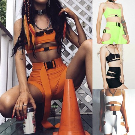 2PCS Sexy Women Crop Top + Shorts Skinny Two Pieces Sets Streetwear Gothic Night Club Solid Swag Girls Lady Summer Outfits Set - Gothic Outfit