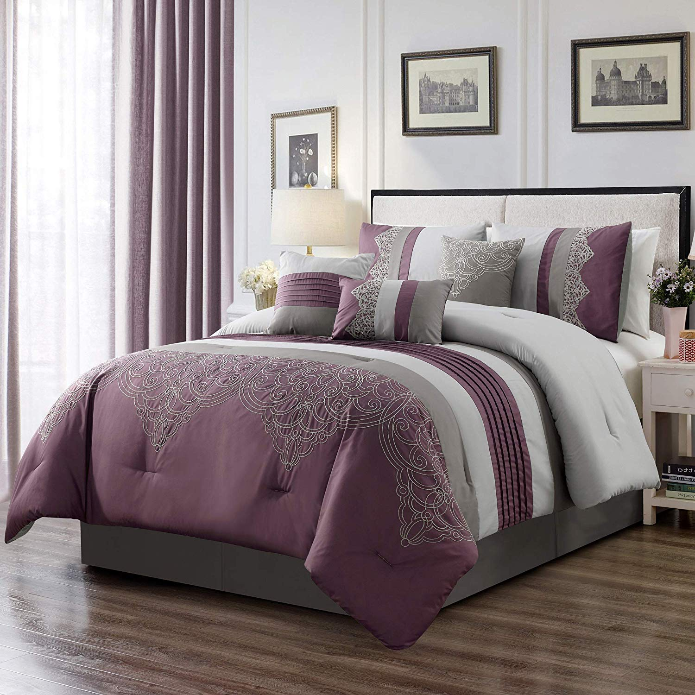 Chezmoi Collection Chloe 7-Piece Purple Gray Geometric Chenille Embroidery Pleated Striped Comforter Set