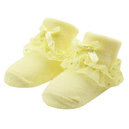 Infant Ruffle Socks - Princess Baby Infants Socks Girls Toddlers Lace Ruffle Frilly Non-slip Cotton Ankle Socks