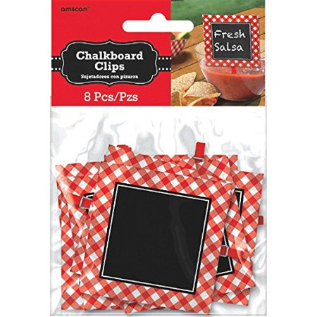 Delightful Picnic Party Red Plaid Chalkboard Clips Decoration, Paper, 3  x 3 , Pack of 8