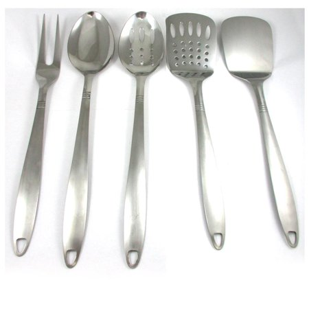 Serving Spoons (5 Stainless Steel Kitchen Cooking Utensil Set Serving Tools Server Spatula)