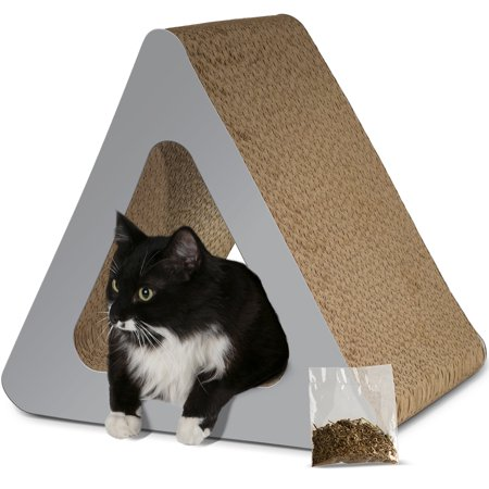 Paws & Pals 3-Sided Vertical Cat Scratcher Post - Different Cardboard Scratching Triangle Angles with Catnip