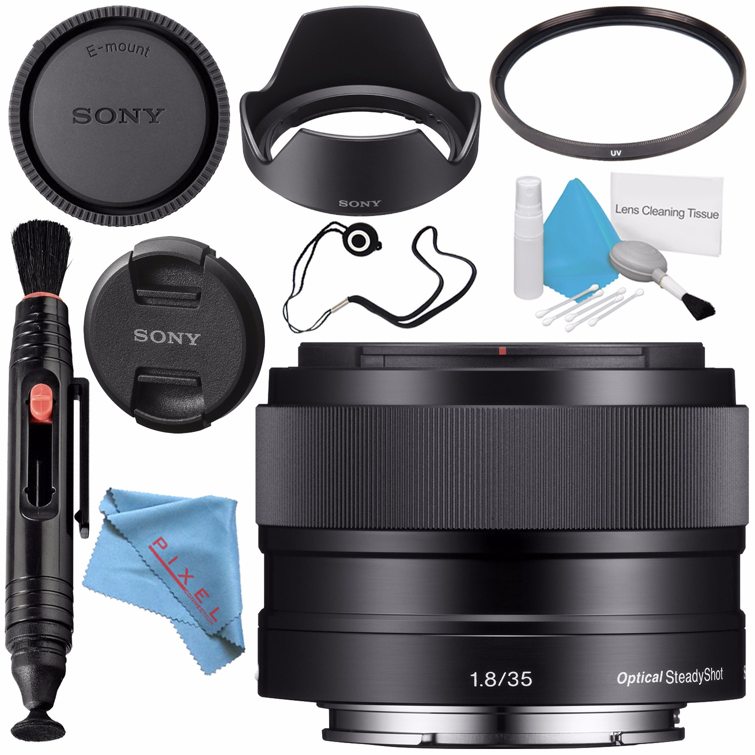 Sony E 35mm f/1.8 OSS Lens SEL35F18 + 49mm 3 Piece Filter Kit + 49mm Macro Close Up Kit + 256GB SDXC Card + Lens Pen Cleaner + Fibercloth + Lens Capkeeper + Deluxe Cleaning Kit Bundle