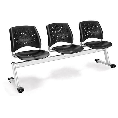 Stars 3-Beam Seating with 3 Seats, Black Plastic