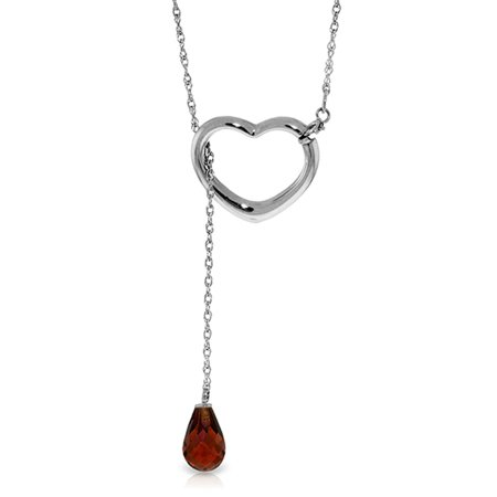 ALARRI 14K Solid White Gold Heart Necklace w/ Drop Briolette Natural Garnet with 24 Inch Chain Length.