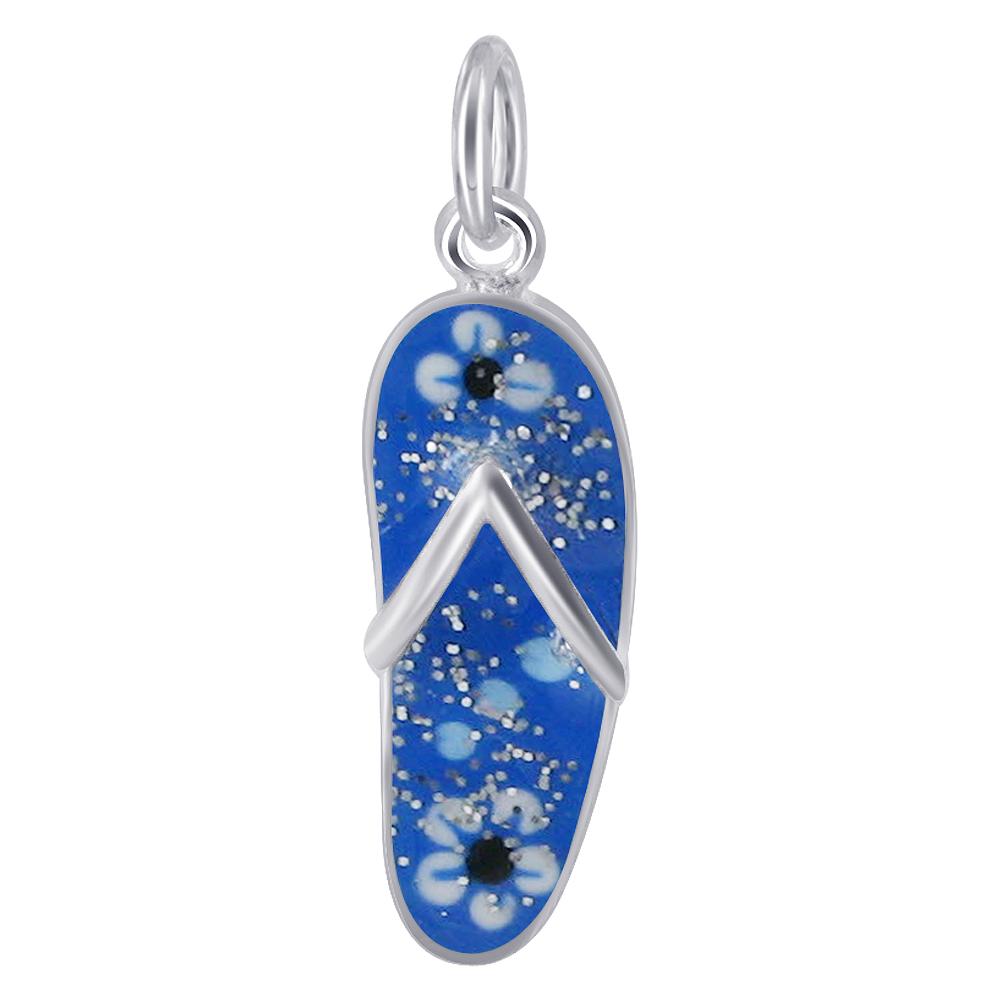 925 Sterling Silver Blue Enamel Flip Flop Charm Pendant with Floral Design