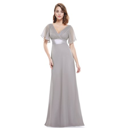 Ever-Pretty Womens Plus Size Empire Waist Long Evening Wedding Party  Bridesmaid Maxi Dress for Women 09890 Gray US24
