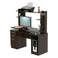 Inval Computer Credenza Work Center with Hutch, Espresso-Wengue Finish