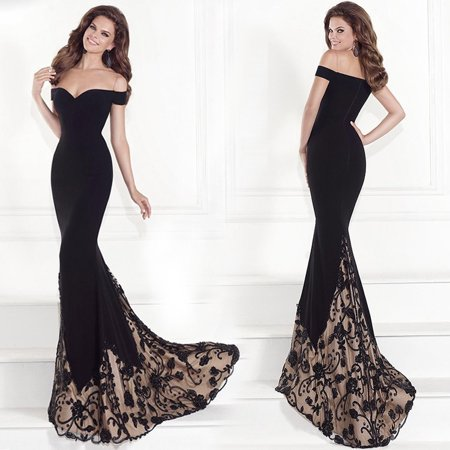 Strapless Wedding Dress Gown (Long Formal Dresses For Women Sexy Strapless Off Shoulder Elegance Slim Lace Wedding Dresses Black Evening Party Dress )