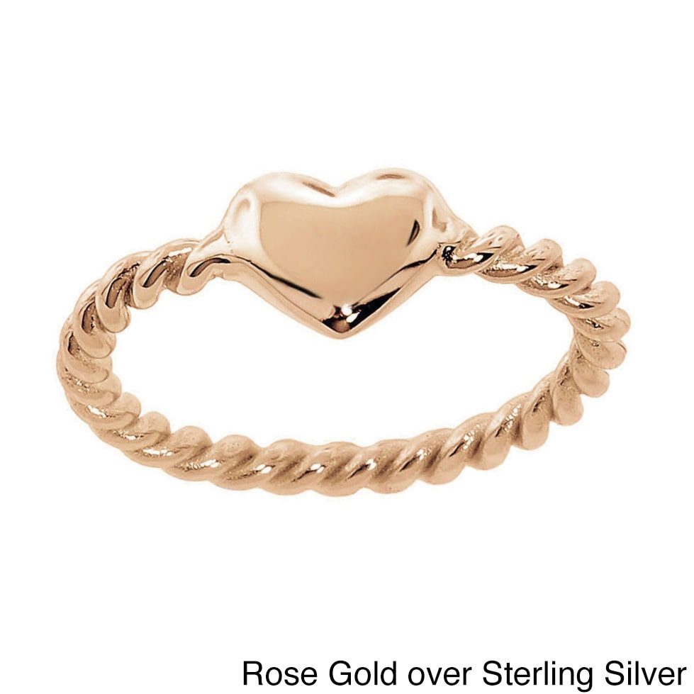 Eternally Haute Sterling Silver Braided Heart Ring Rose Gold over Sterling Silver, Size 7