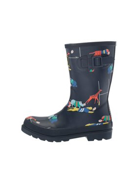 Joules Boys Scrum Rubber Mid-Calf Pull On Rain, Navy/Multi, Size 9.0 M Us Kids