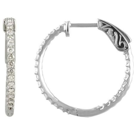 Platinum Polished Earring - Platinum Diamond 23mm Polished 0.75 Dwt Diamond Hoop Earrings