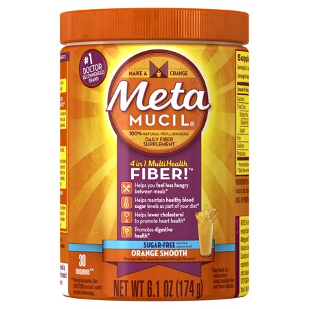Metamucil Multi-Health Psyllium Fiber Supplement Sugar-Free Powder, Orange Flavored, 30 Servings