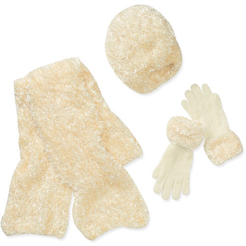 Women's Feather Chenille 3-Piece Set: Hat, Gloves and Scarf Set