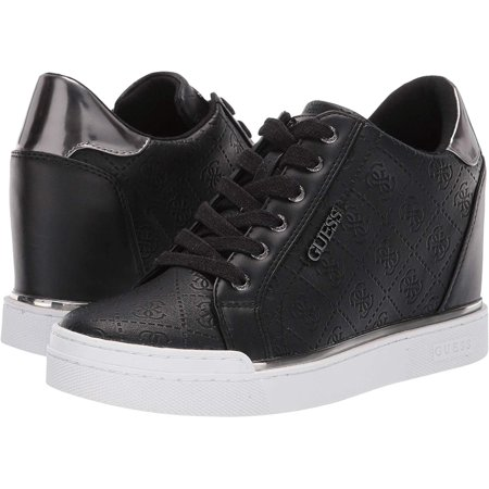 Guess Womens Guess Leather Low Top Lace Up Fashion Sneakers, Black, Size 6.0