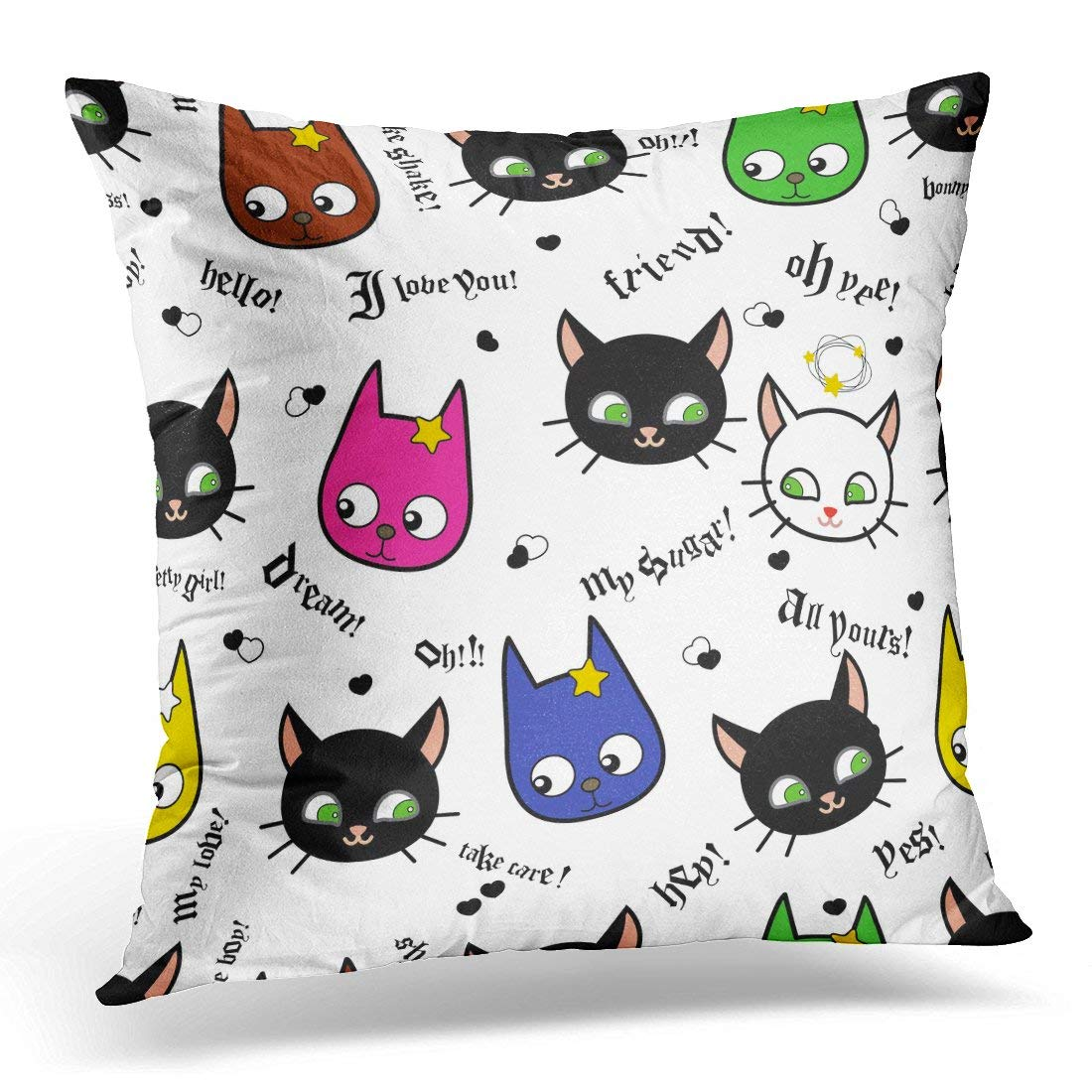 CMFUN Cartoon Kids Animals on White Cute Cats and Dogs Love and Friendship and for Children Japan Style Pillow Case Pillow Cover 20x20 inch