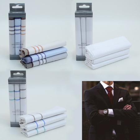 3 Men Handkerchief Plaid Pocket Solid 100% Cotton Fancy Fashion Suit Hankie Gift