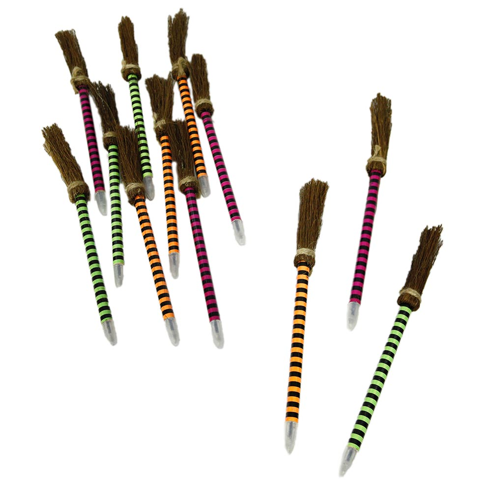 Neon Striped Witches Broom Pens for Halloween