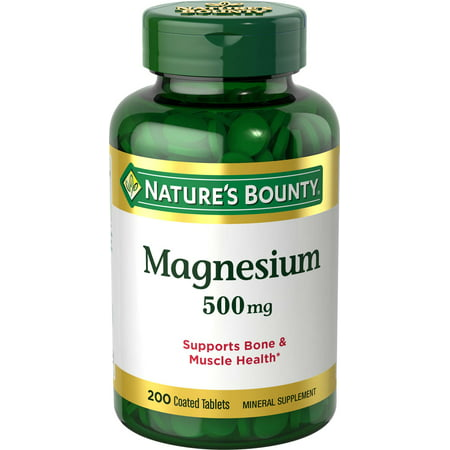 Nature's Bounty Magnesium Tablets, 500mg, 200 Ct (Best Magnesium For Depression)