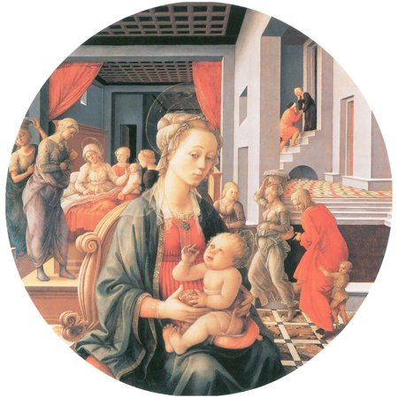 Framed Art for Your Wall Lippi, Fra Filippo - Madonna with child, the birth of the Virgin, and the meeting of Anna and Joachim 10 x 13 (Fra Filippo Lippi Madonna And Child With Angels)