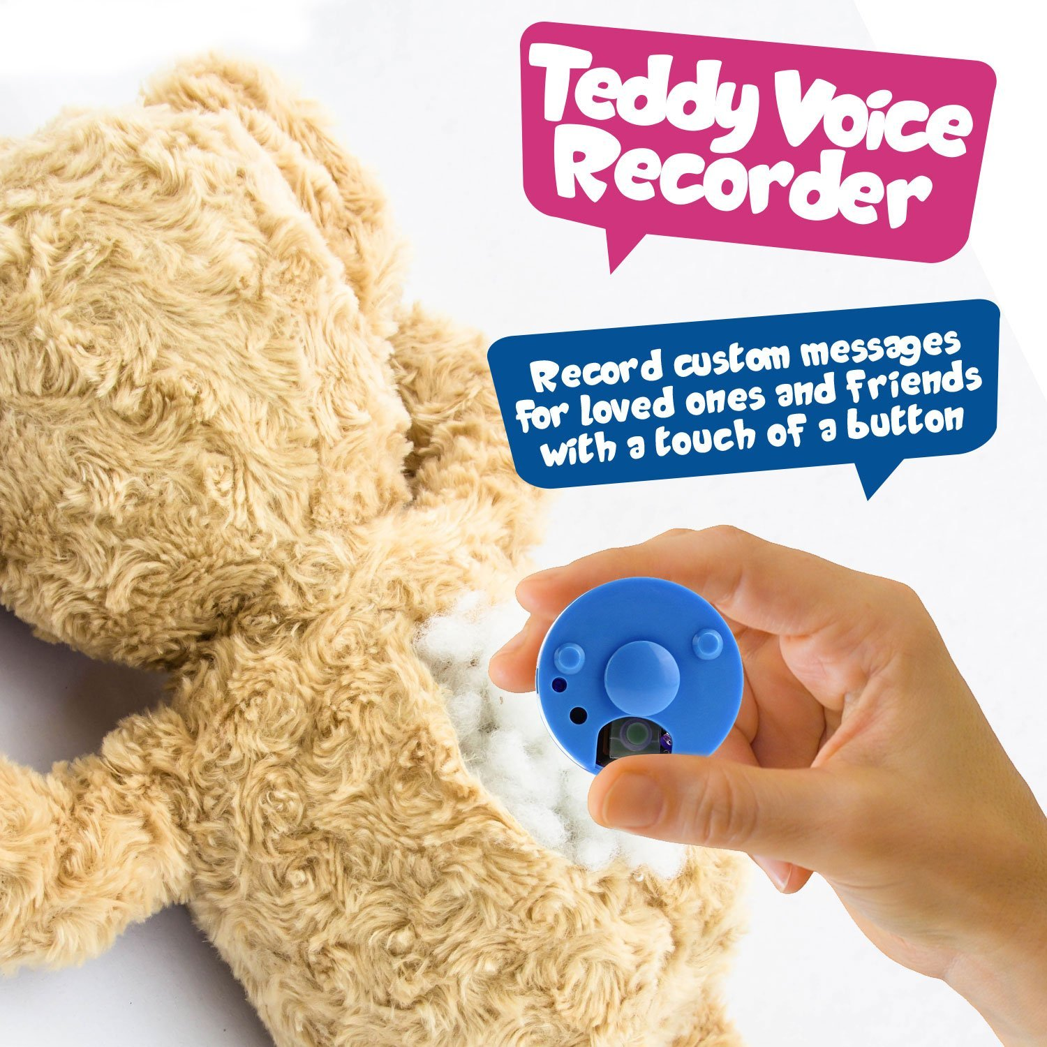 Recordable Teddy Bear Walmart, Voice Sound Recorder Module For Plush Toy Stuffed Teddy Bear Animal Recordable Insert Record Custom Messages 12 Seconds Long 2 Pack Pink Blue By Inventiv Walmart Com Walmart Com