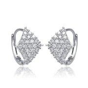 Collette Z  Sterling Silver Cubic Zirconia Hoop Earrings