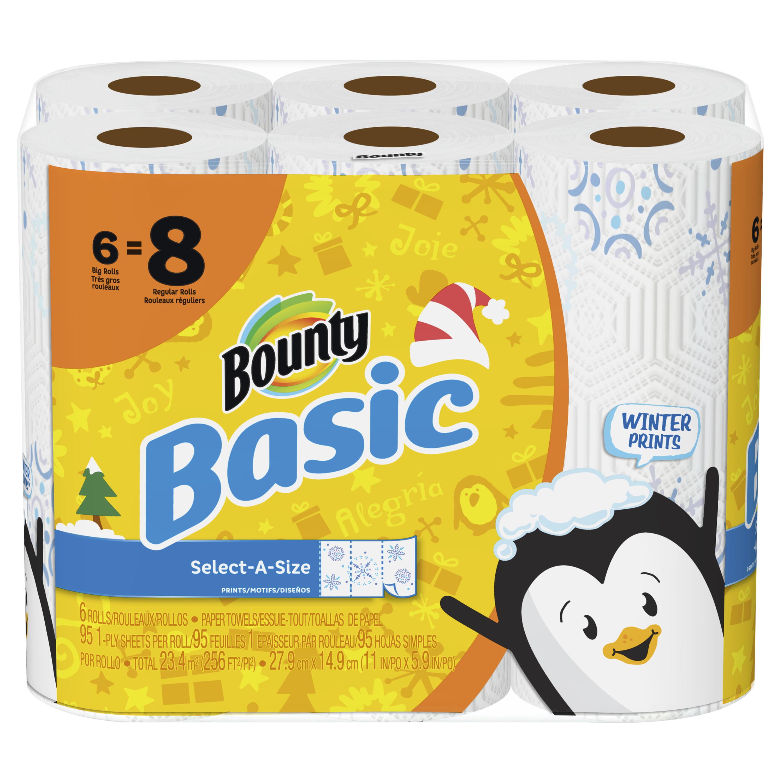 Bounty Basic Select-A-Size Paper Towels, Winter Print, 6 Big Rolls ...