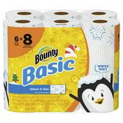 Bounty Basic Select-A-Size Paper Towels, Winter Print, 6 Big Rolls = 8 Regular Rolls