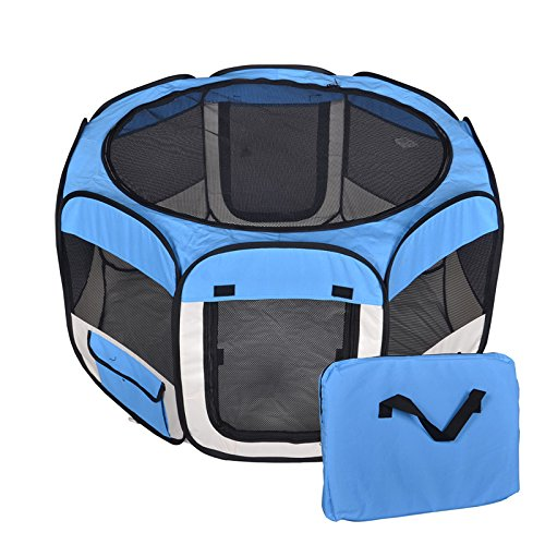 New Medium Blue Pet Dog Cat Tent Playpen Exercise Play Pen Soft Crate T08 by ...