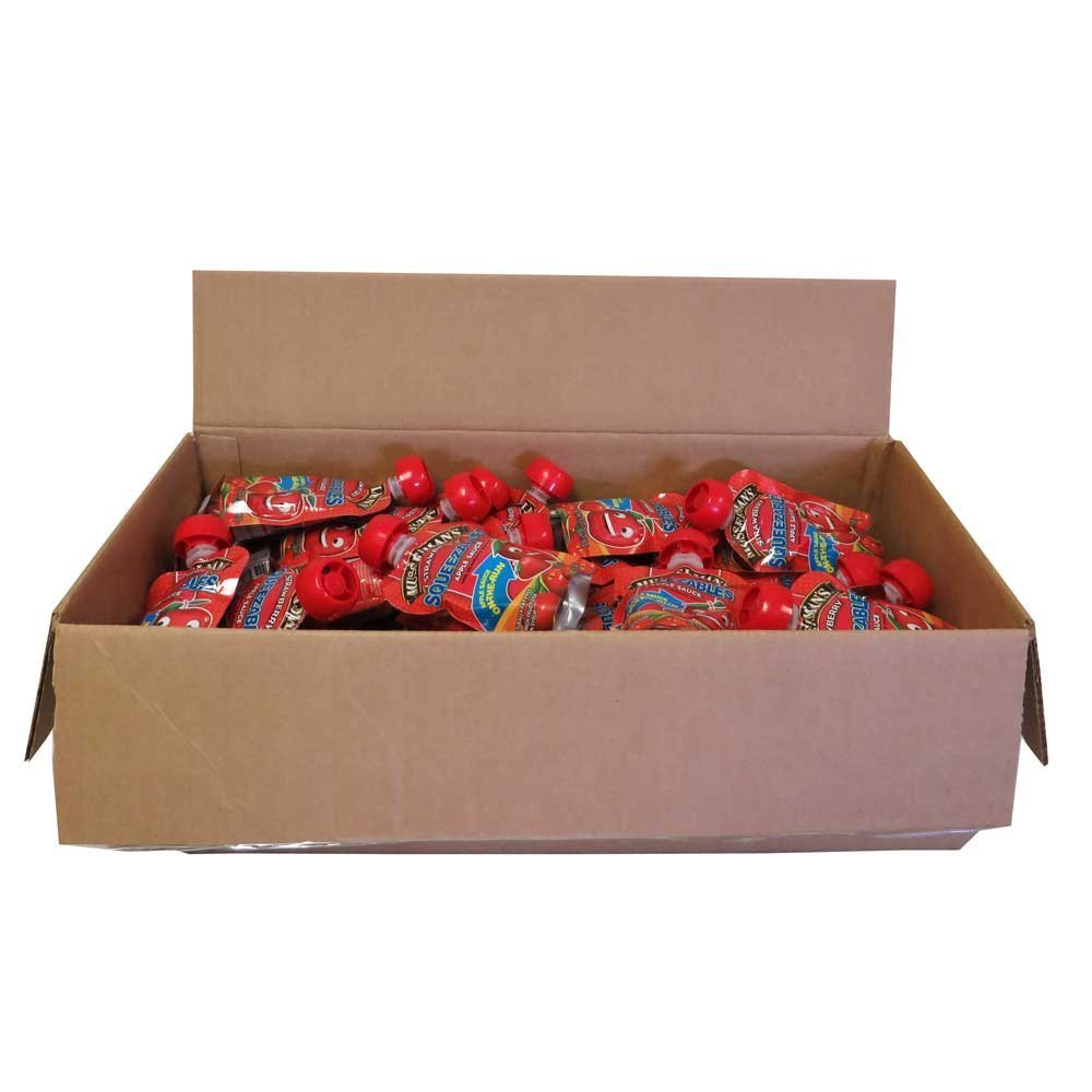 50 PACKS : Musselmans Strawberry Squeezable Apple Sauce, 3.17 Ounce