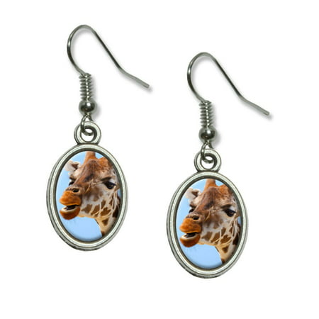 Funny African Giraffe Dangling Drop Oval Earrings