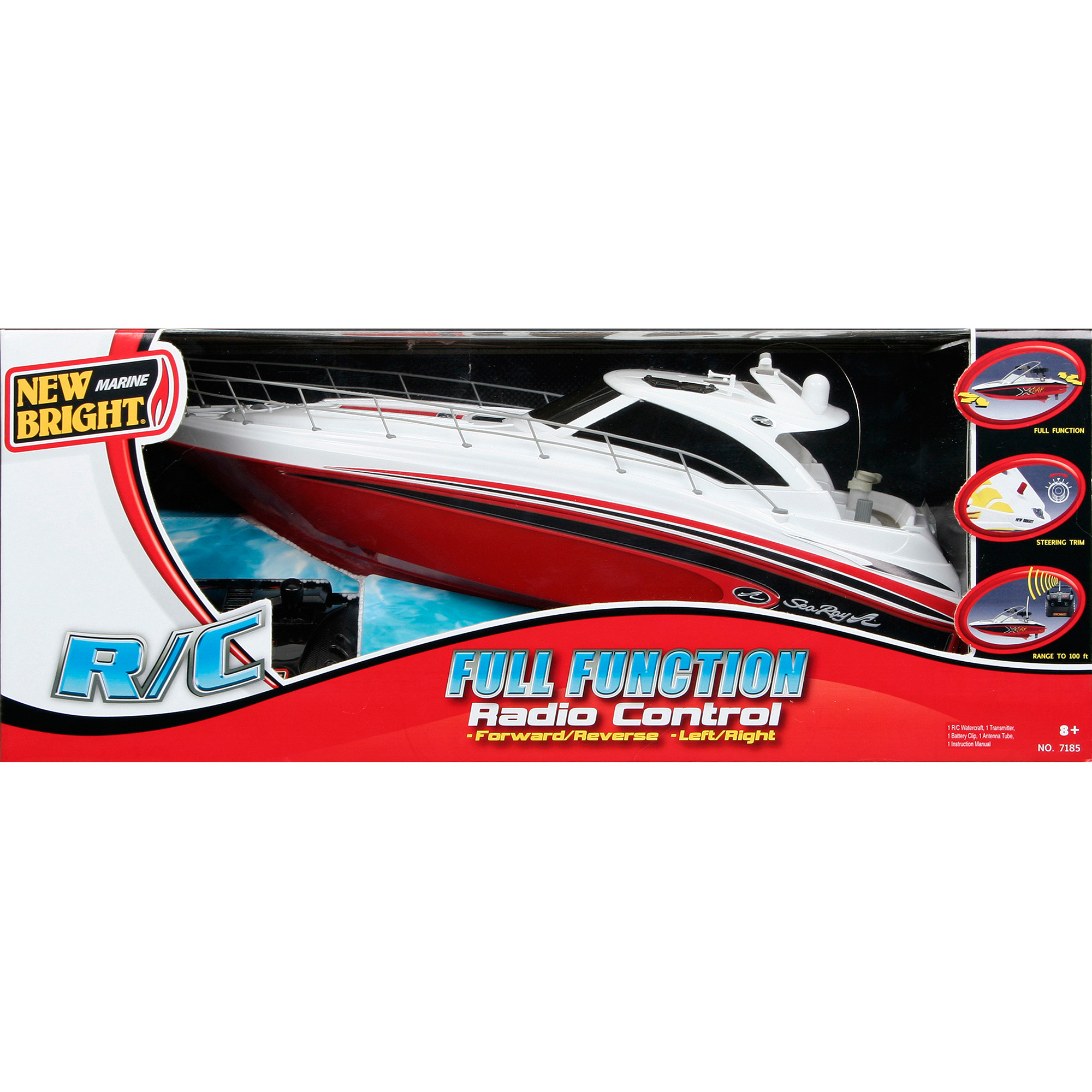 """New Bright 18"""" Radio Control Full-Function Sea Ray Boat, Red"""