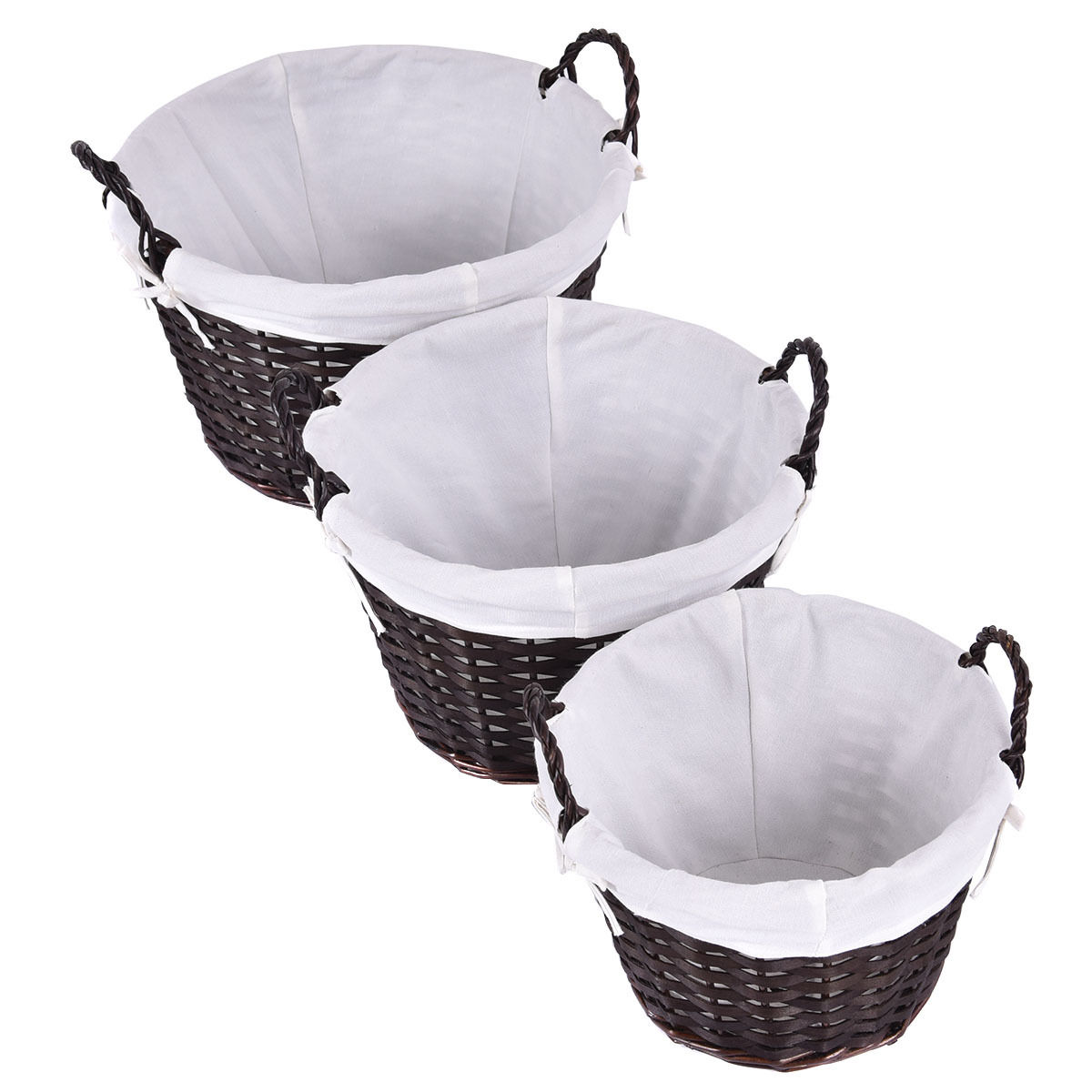Costway Set of 3 Round Hand-woven Willow Wicker Storage Basket With White Lining