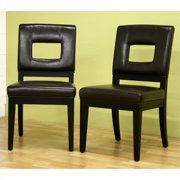 Baxton Studio Portem Leather Dining Chair, Set of 2, Brown