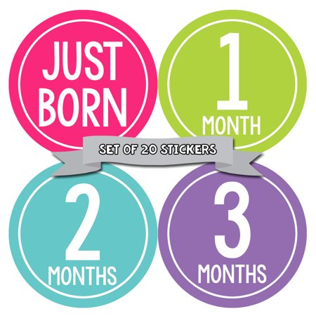 Months In Motion Monthly Newborn Baby Girl Stickers | Shower Registry Gift for Photo Scrapbook Keepsake
