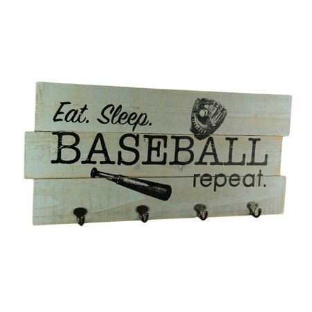 Retro Rustic Wood Board Football or Baseball Wall Plaque with Hooks