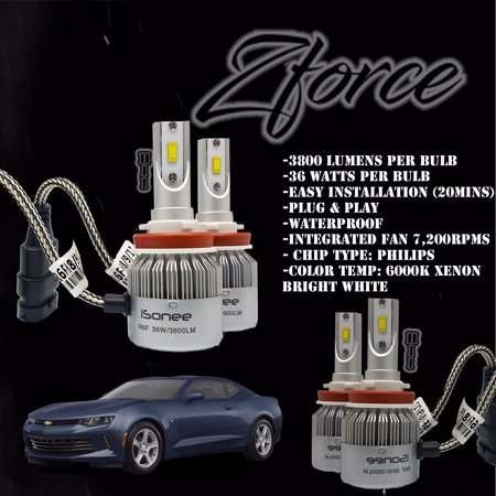 Zforce Low Beam+Fog Lights H11 & H11 All-in-one Combo 6000K Xenon White for  2016 Chevrolet Camaro R6 Philips LED Headlight Conversion Kit 36W 3800Lm